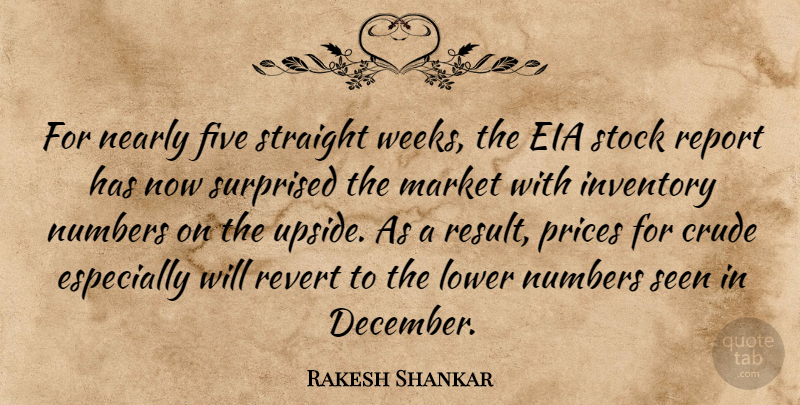 Rakesh Shankar Quote About Crude, Five, Inventory, Lower, Market: For Nearly Five Straight Weeks...
