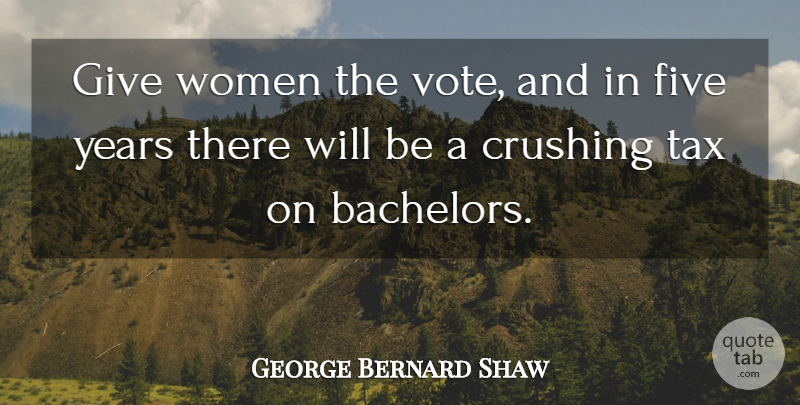 George Bernard Shaw Quote About Crush, Years, Giving: Give Women The Vote And...