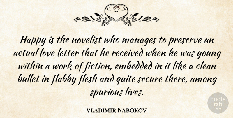 Vladimir Nabokov Quote About Fiction, Letters, Flesh: Happy Is The Novelist Who...