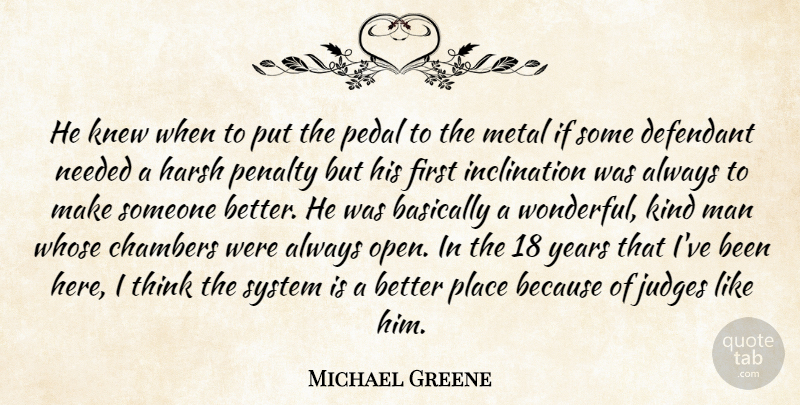Michael Greene Quote About Basically, Chambers, Harsh, Judges, Knew: He Knew When To Put...