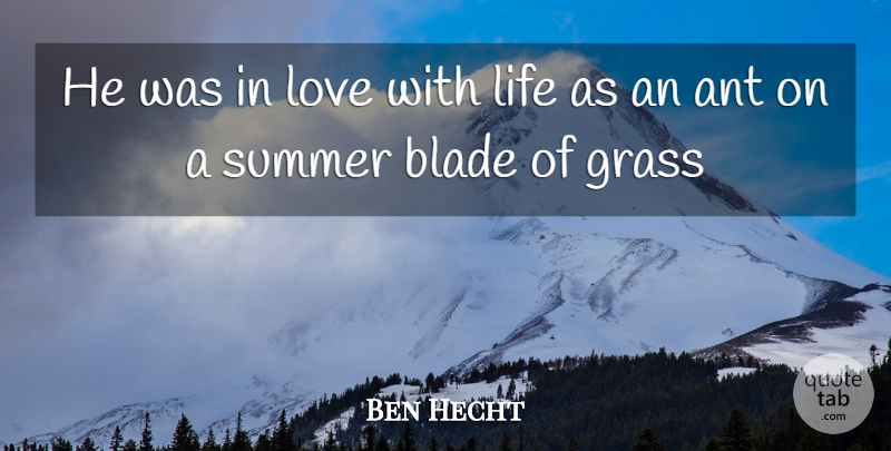 Ben Hecht Quote About Summer, Love Life, Ants: He Was In Love With...
