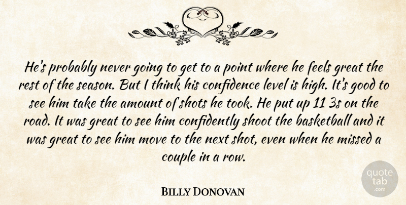 Billy Donovan Quote About Amount, Basketball, Confidence, Couple, Feels: Hes Probably Never Going To...