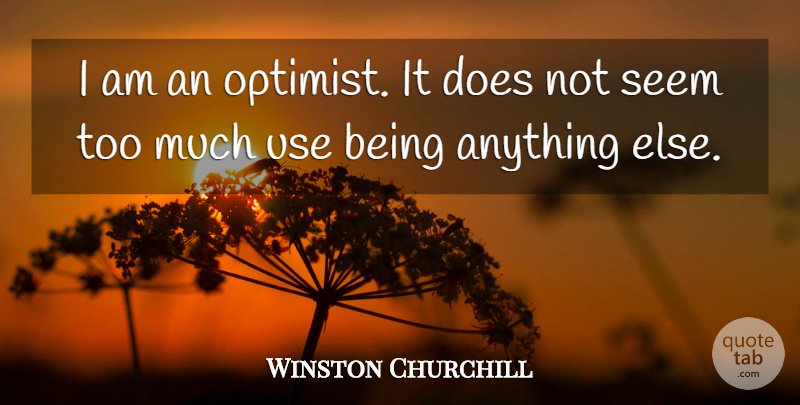 Winston Churchill Quote About Motivational, Positive, Attitude: I Am An Optimist It...