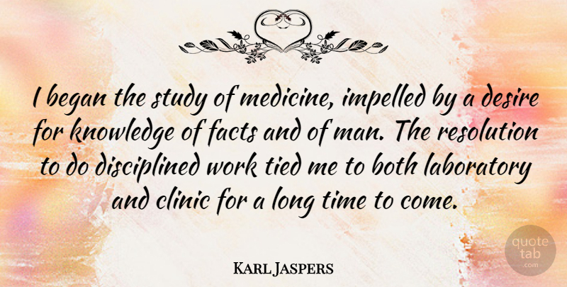 Karl Jaspers Quote About Men, Medicine, Long: I Began The Study Of...