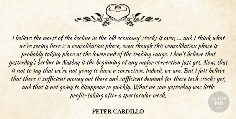 Peter Cardillo Quote About Beginning, Believe, Correction, Decline, Demand: I Believe The Worst Of...