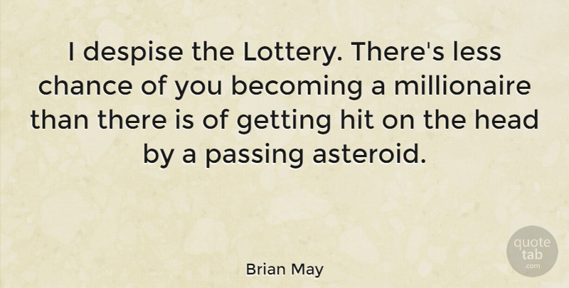 Brian May Quote About Funny, Money, Asteroids: I Despise The Lottery Theres...