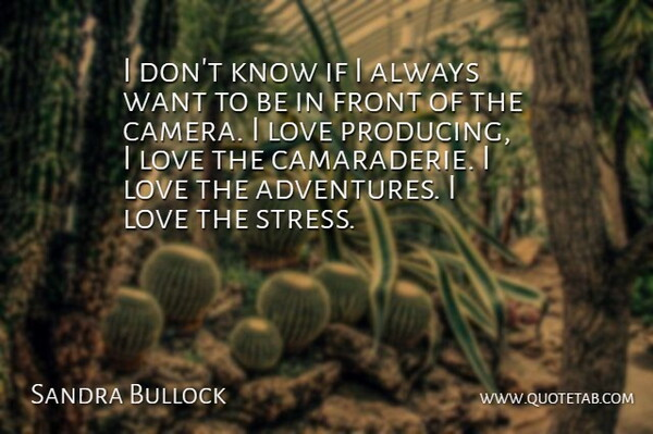 Sandra Bullock Quote About Stress, Adventure, Want: I Dont Know If I...