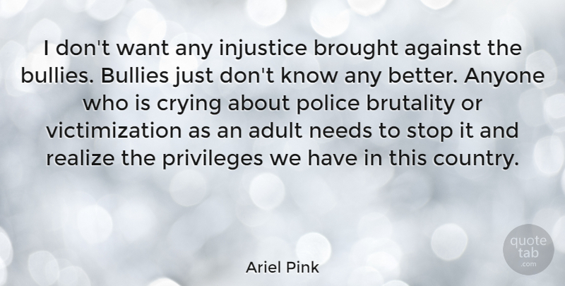 Ariel Pink Quote About Adult, Against, Anyone, Brought, Brutality: I Dont Want Any Injustice...