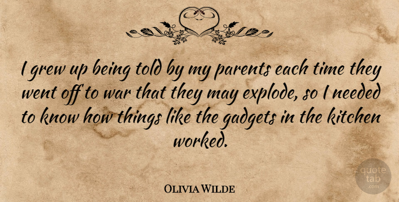 Olivia Wilde Quote About Gadgets, Grew, Kitchen, Needed, Time: I Grew Up Being Told...