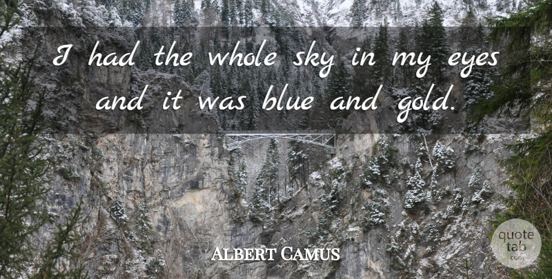 albert camus i had the whole sky in my eyes and it was blue and