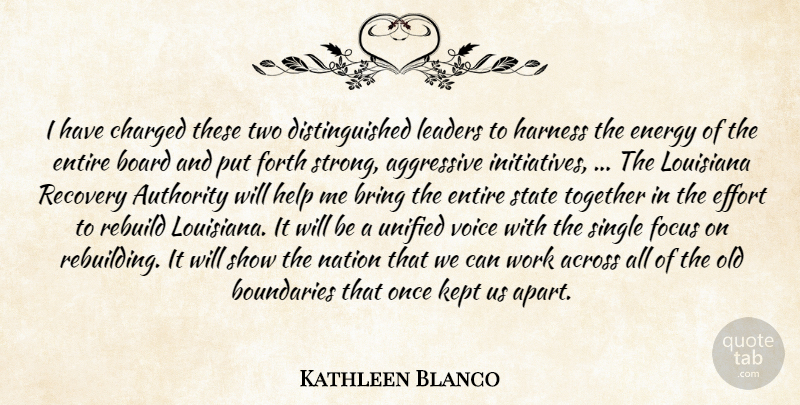 Kathleen Blanco Quote About Across, Aggressive, Authority, Board, Boundaries: I Have Charged These Two...