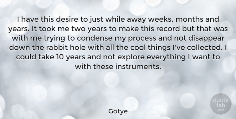 Gotye Quote About Condense, Cool, Disappear, Explore, Hole: I Have This Desire To...