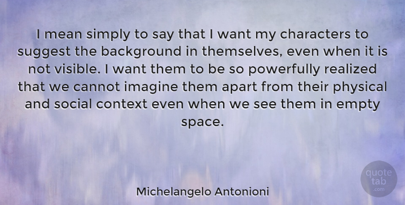 Michelangelo Antonioni Quote About Apart, Background, Cannot, Characters, Empty: I Mean Simply To Say...