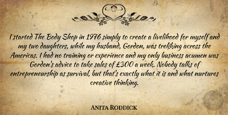 Anita Roddick Quote About Daughter, Mother, Husband: I Started The Body Shop...