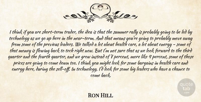 Ron Hill Quote About Bargains, Care, Chance, Energy, Flowing: I Think If You Are...