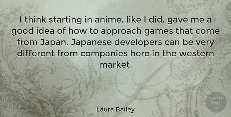 Laura Bailey Quote About Companies, Developers, Games, Gave, Good: I Think Starting In Anime...