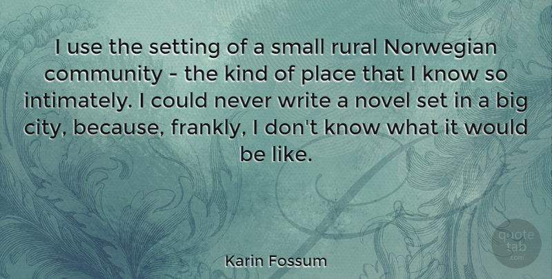 Karin Fossum Quote About Writing, Cities, Community: I Use The Setting Of...