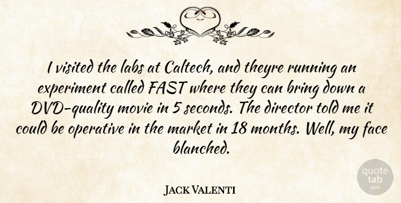 Jack Valenti Quote About Bring, Director, Experiment, Face, Fast: I Visited The Labs At...
