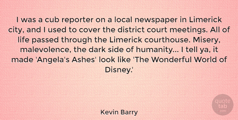 Kevin Barry Quote About Court, Cover, Cub, District, Life: I Was A Cub Reporter...