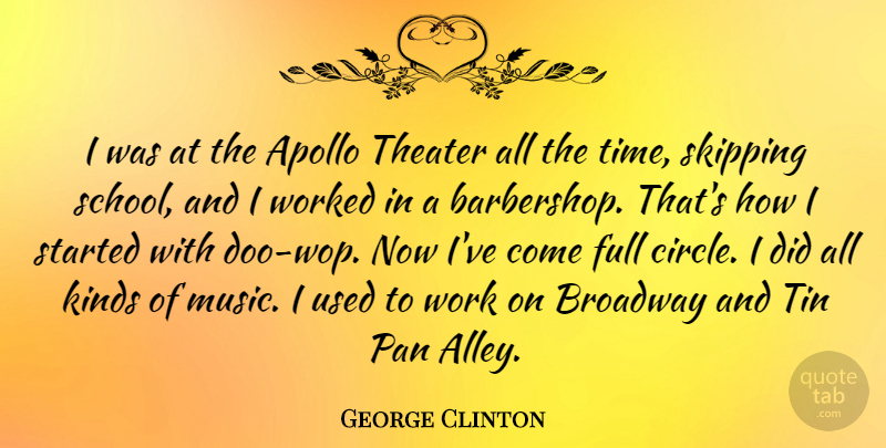 George Clinton Quote About School, Circles, Tin Pan Alley: I Was At The Apollo...