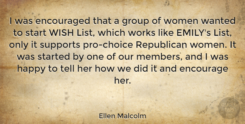 Ellen Malcolm Quote About Support, Choices, Wish: I Was Encouraged That A...