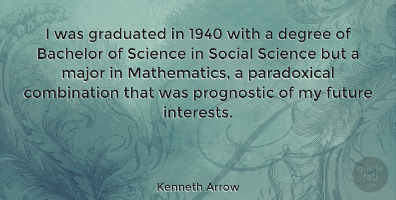 Kenneth Arrow Quote About Degree, Future, Graduated, Major, Science: I Was Graduated In 1940...