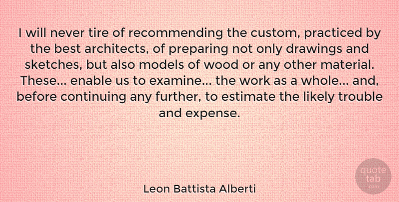 Leon Battista Alberti Quote About Drawing, Woods, Trouble: I Will Never Tire Of...