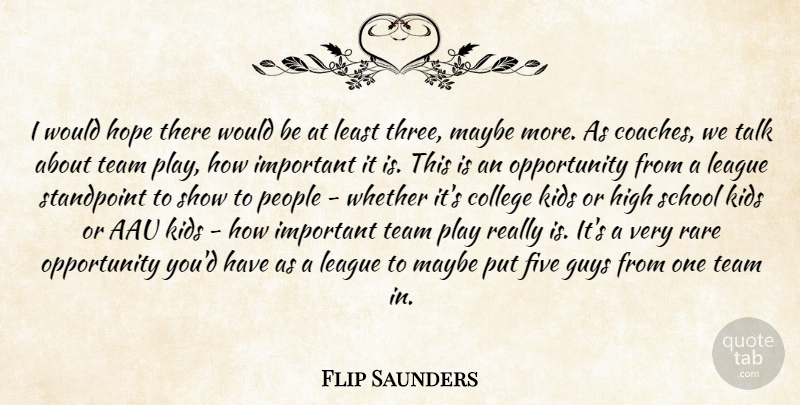 Flip Saunders Quote About College, Five, Guys, High, Hope: I Would Hope There Would...