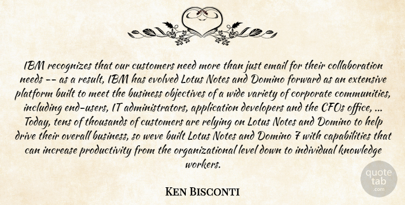 Ken Bisconti Quote About Built, Business, Corporate, Customers, Developers: Ibm Recognizes That Our Customers...