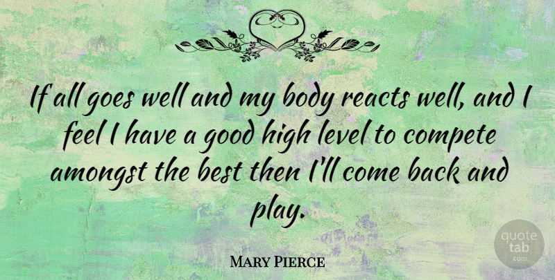 Mary Pierce Quote About Amongst, Best, Compete, Goes, Good: If All Goes Well And...
