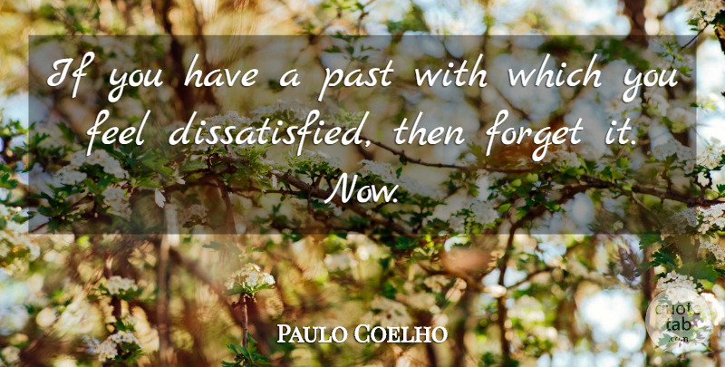 Paulo Coelho Quote About Past, Forget, Feels: If You Have A Past...