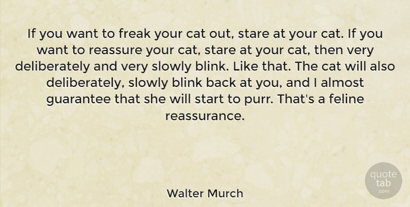 Walter Murch Quote About Almost, Feline, Freak, Guarantee, Reassure: If You Want To Freak...