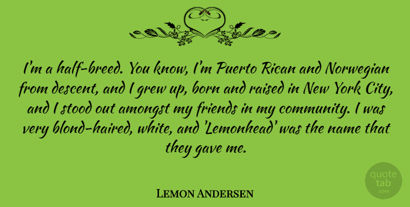 Lemon Andersen Quote About Amongst, Born, Gave, Grew, Name: Im A Half Breed You...