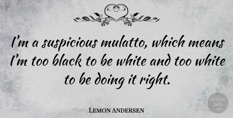 Lemon Andersen Quote About Means: Im A Suspicious Mulatto Which...