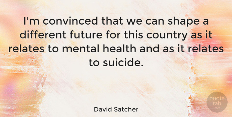David Satcher Quote About Suicide, Country, Shapes: Im Convinced That We Can...