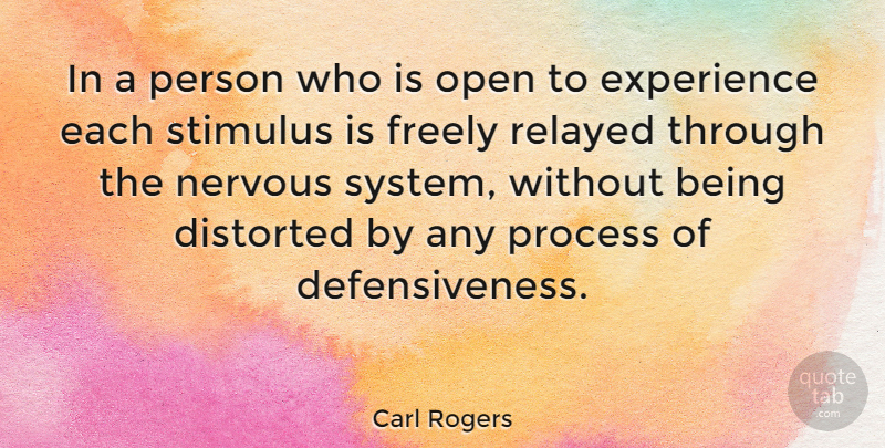 Carl Rogers Quote About Nervous, Congruence, Stimulus: In A Person Who Is...