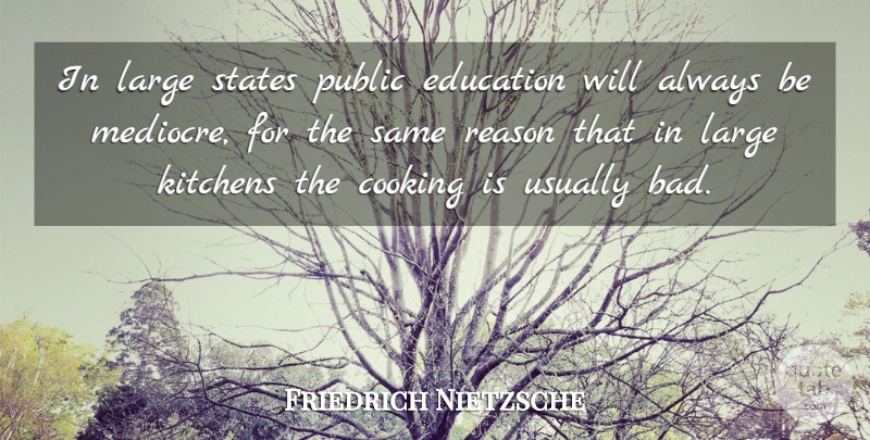 Friedrich Nietzsche Quote About Education, Philosophy, Teaching: In Large States Public Education...