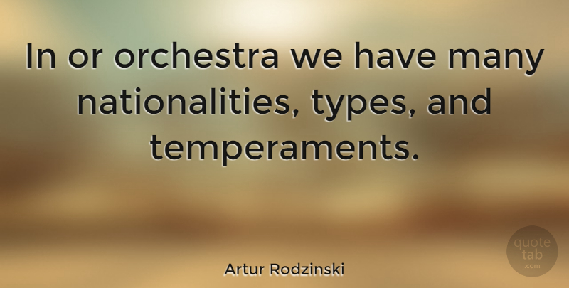 Artur Rodzinski Quote About Orchestra, Type, Temperament: In Or Orchestra We Have...