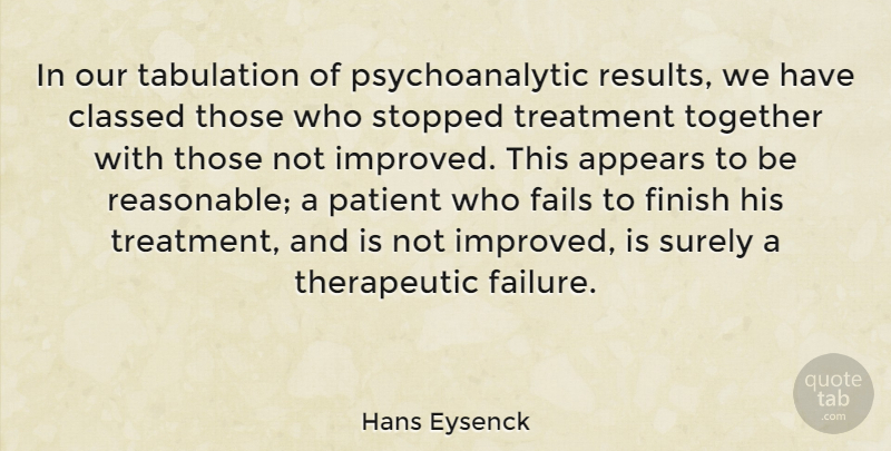 Hans Eysenck Quote About Appears, Fails, Patient, Stopped, Surely: In Our Tabulation Of Psychoanalytic...