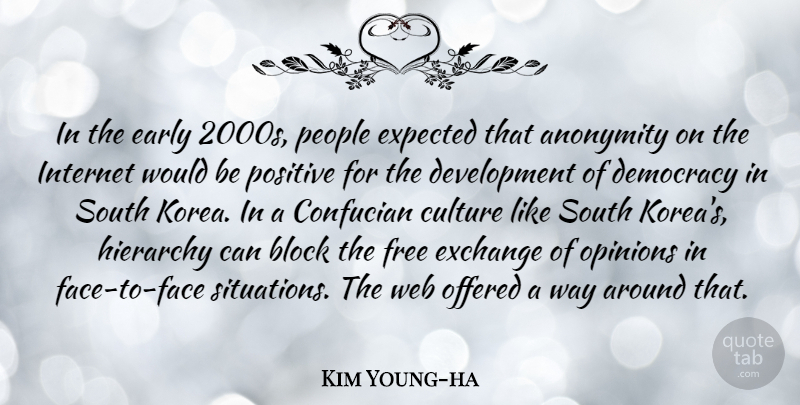 Kim Young-ha Quote About Anonymity, Block, Early, Exchange, Expected: In The Early 2000s People...