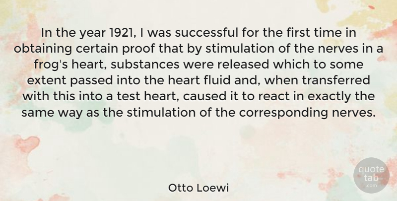 Otto Loewi Quote About Caused, Certain, Exactly, Extent, Fluid: In The Year 1921 I...