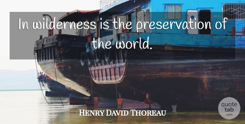 Henry David Thoreau Quote About American Author, Wilderness: In Wilderness Is The Preservation...