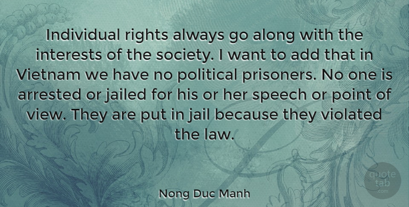 Nong Duc Manh Quote About Add, Along, Arrested, Individual, Interests: Individual Rights Always Go Along...