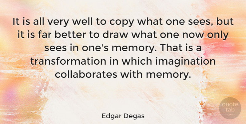 Edgar Degas Quote About Memories, Imagination, Transformation: It Is All Very Well...