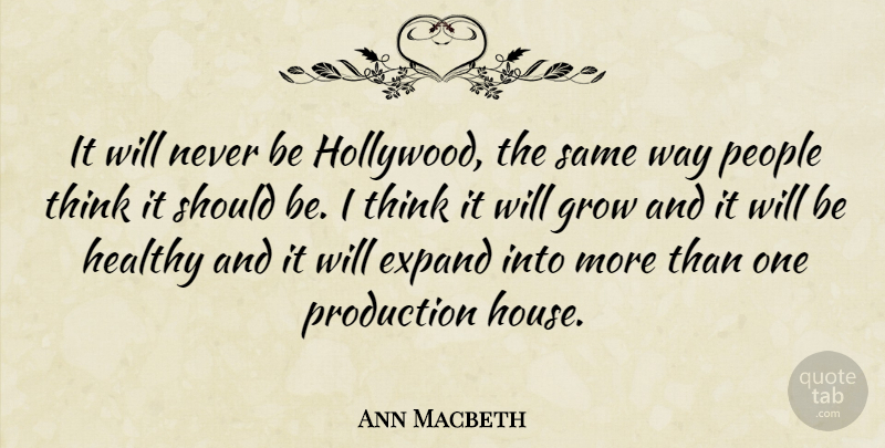 Ann Macbeth Quote About English Author, Expand, People, Production: It Will Never Be Hollywood...