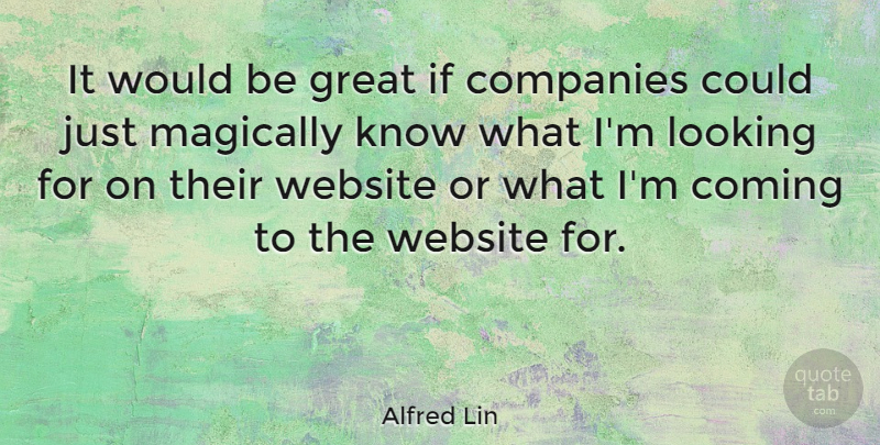 Alfred Lin Quote About Coming, Companies, Great: It Would Be Great If...