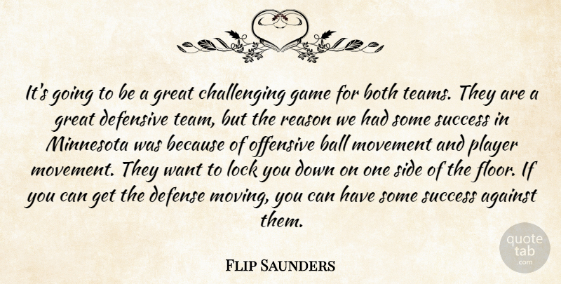 Flip Saunders Quote About Against, Ball, Both, Defense, Defensive: Its Going To Be A...