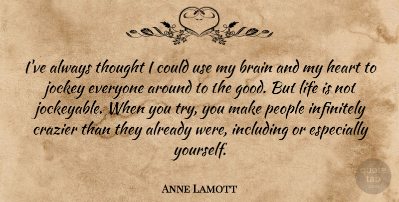 Anne Lamott Quote About Heart, People, Brain: Ive Always Thought I Could...