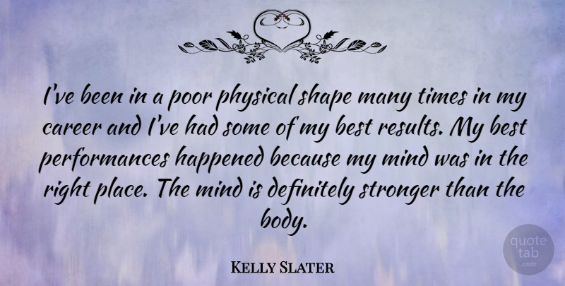 Kelly Slater Quote About Careers, Mind, Stronger: Ive Been In A Poor...