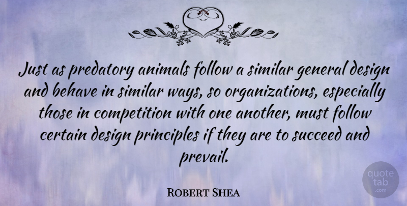 Robert Shea Quote About American Author, Behave, Certain, Competition, Design: Just As Predatory Animals Follow...